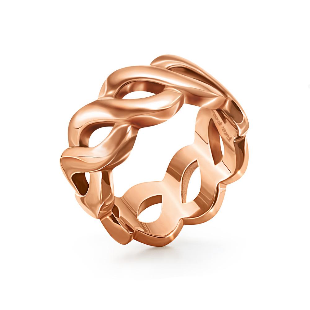 FOLLI FOLLIE - Γυναικείο φαρδύ δαχτυλίδι FOLLI FOLLIE ροζ-χρυσό γυναικεία αξεσουάρ κοσμήματα δαχτυλίδια