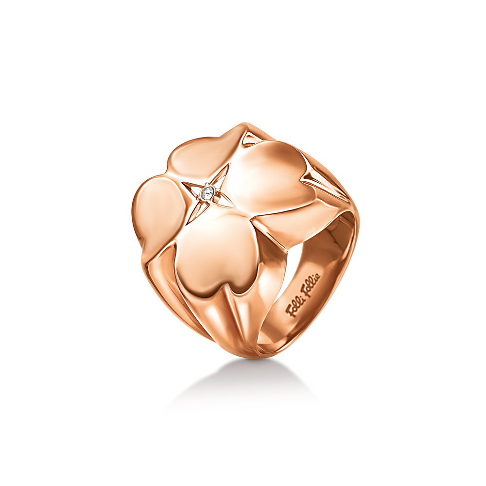 FOLLI FOLLIE - Γυναικείο μικρό δαχτυλίδι FOLLI FOLLIE Valentine ροζ-χρυσό γυναικεία αξεσουάρ κοσμήματα δαχτυλίδια