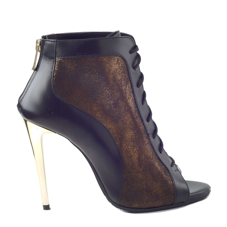 CHANIOTAKIS - Γυναικεία peep toe μποτάκια CHANIOTAKIS MARLEY 60095 μαύρα-καφέ