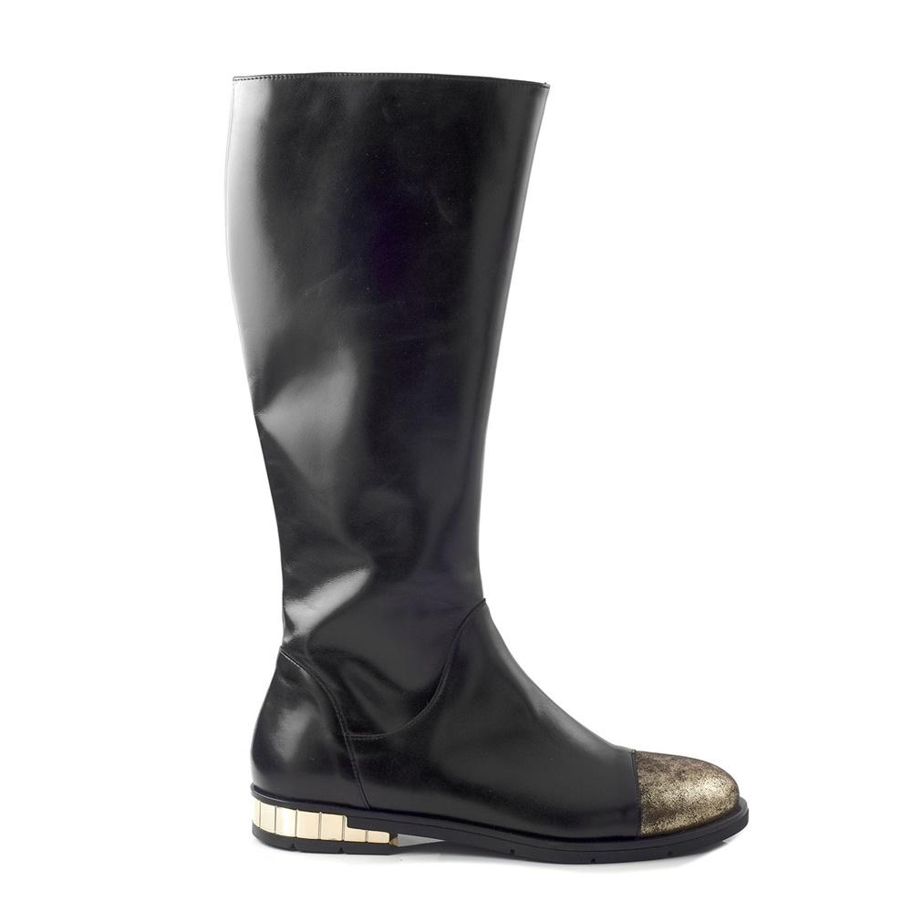 CHANIOTAKIS – Γυναικείες flat μπότες CHANIOTAKIS MARLEY 4693 μαύρες-χρυσές