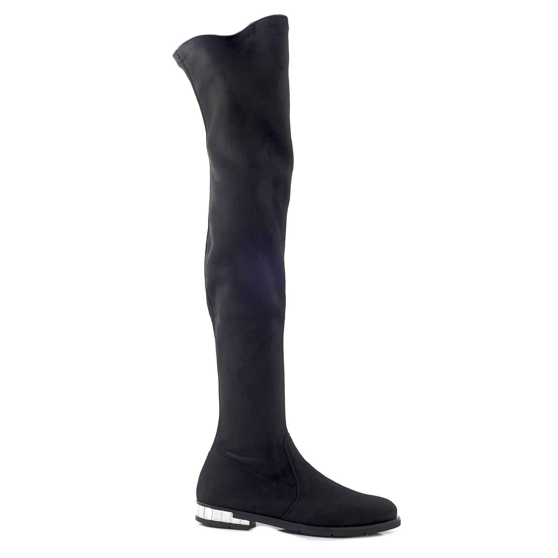 CHANIOTAKIS – Γυναικείες over the knees μπότες CHANIOTAKIS ELASTICO 4693  μαύρες 5f7f74e328f