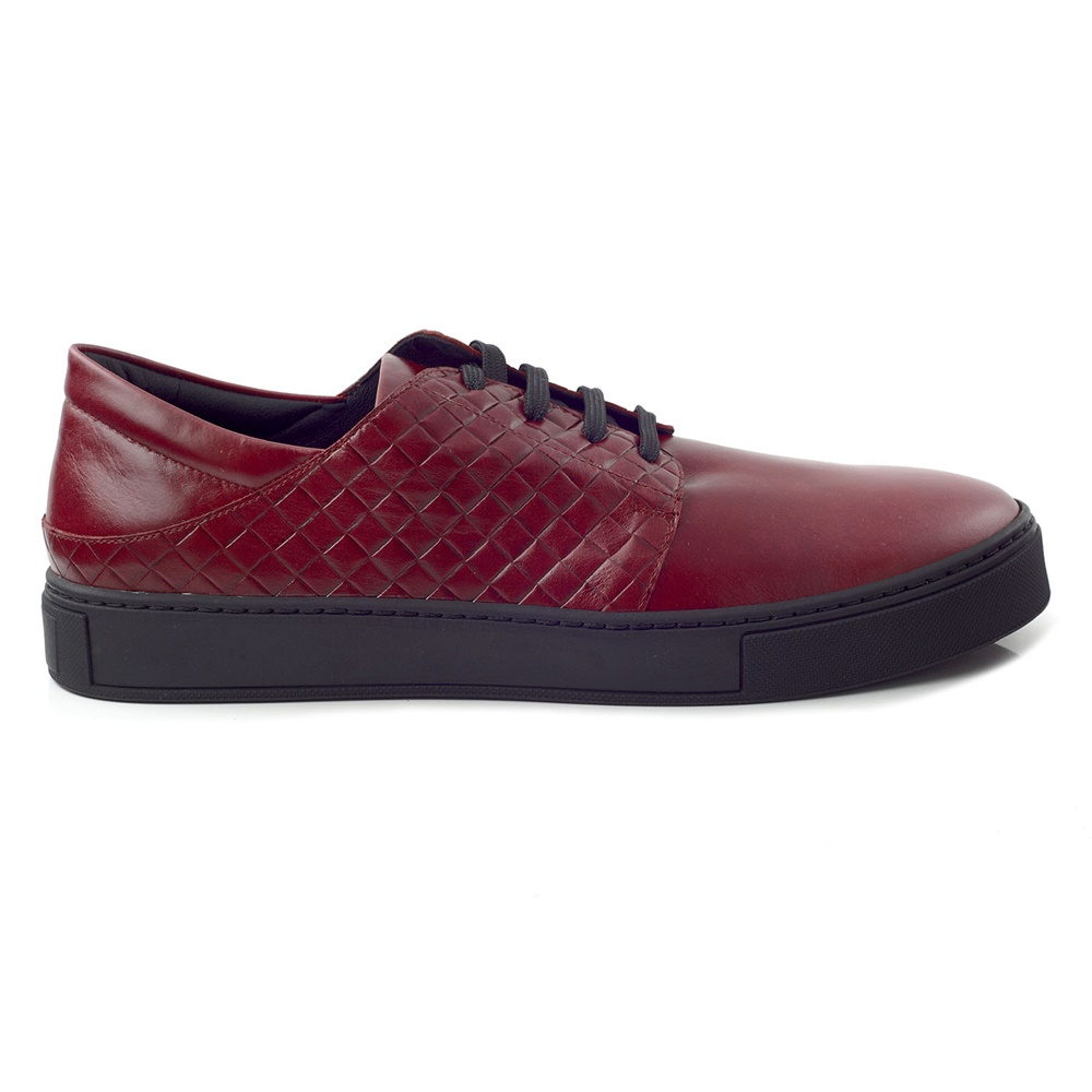 CHANIOTAKIS - Ανδρικά δερμάτινα sneakers CHANIOTAKIS μπορντό ... be53bd92737