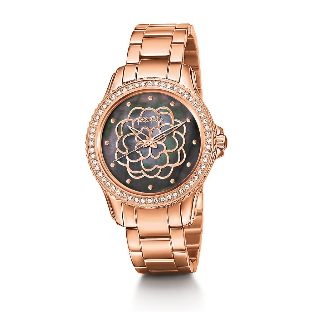 FOLLI FOLLIE - Γυναικείο ρολόι Folli Follie SANTORINI FLOWER ροζ χρυσό 447c77dec53
