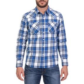 LEVI S. Ανδρικό μακρυμάνικο καρό πουκάμισο LEVI S BARSTOW WESTERN μπλε-λευκό 1cdfdafe7a6