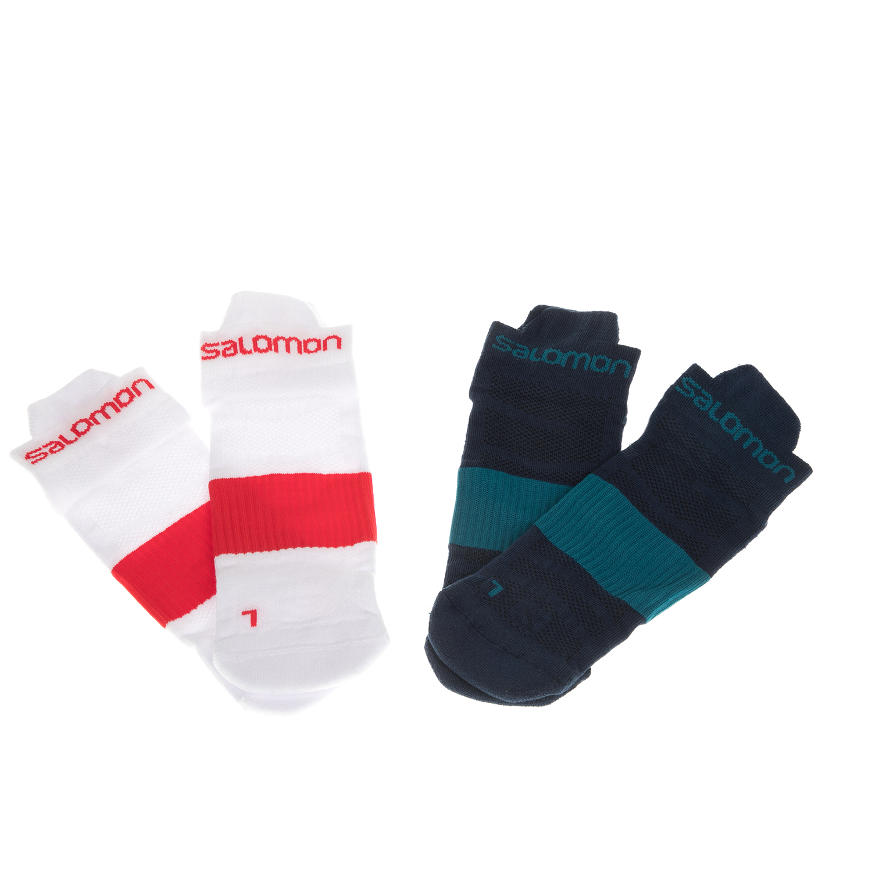 SALOMON - Σετ unisex κάλτσες SALOMON TRAIL RUNNING SENSE λευκές-πετρόλ γυναικεία αξεσουάρ κάλτσες