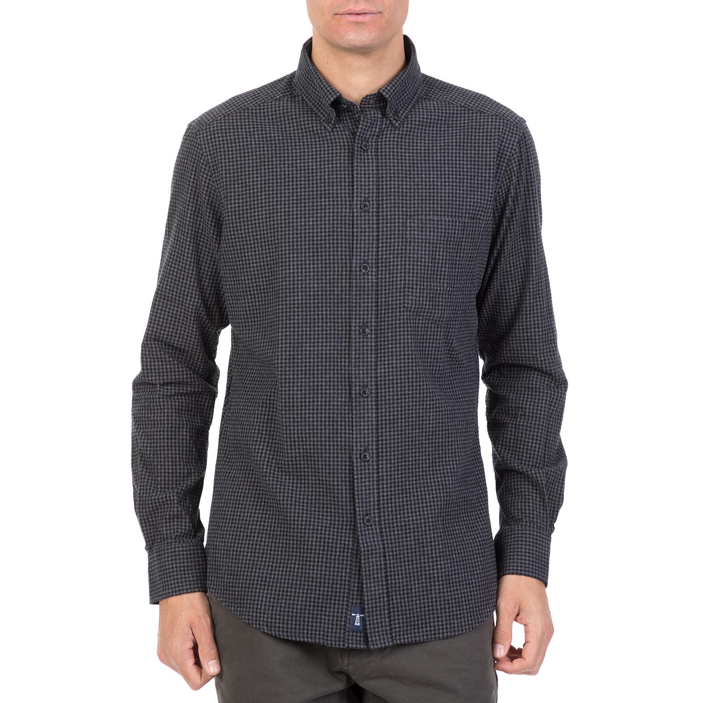 27a605a88f07 HAMPTONS - Ανδρικό μακρυμάνικο καρό πουκάμισο μαύρο-γκρι