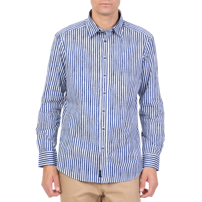 ff9705411812 HAMPTONS - Ανδρικό μακρυμάνικο ριγέ πουκάμισο HAMPTONS μπλε-λευκό