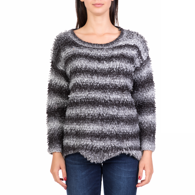 ALE - Γυναικείο ριγέ πουλόβερ  ALE γκρι-μαύρο ⋆ pressmedoll.gr 402f229967d