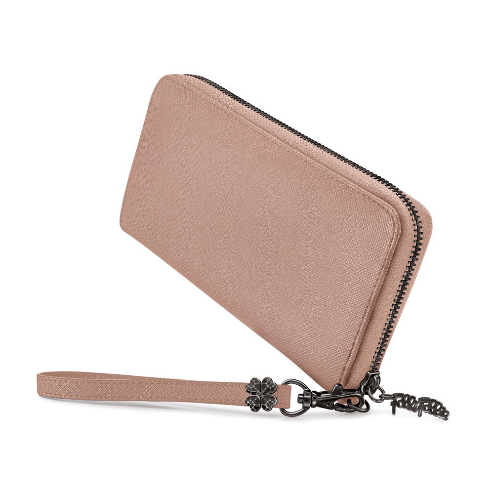 86b82f0c0f FOLLI FOLLIE - Γυναικείο πορτοφόλι με φερμουάρ FOLLI FOLLIE μπεζ