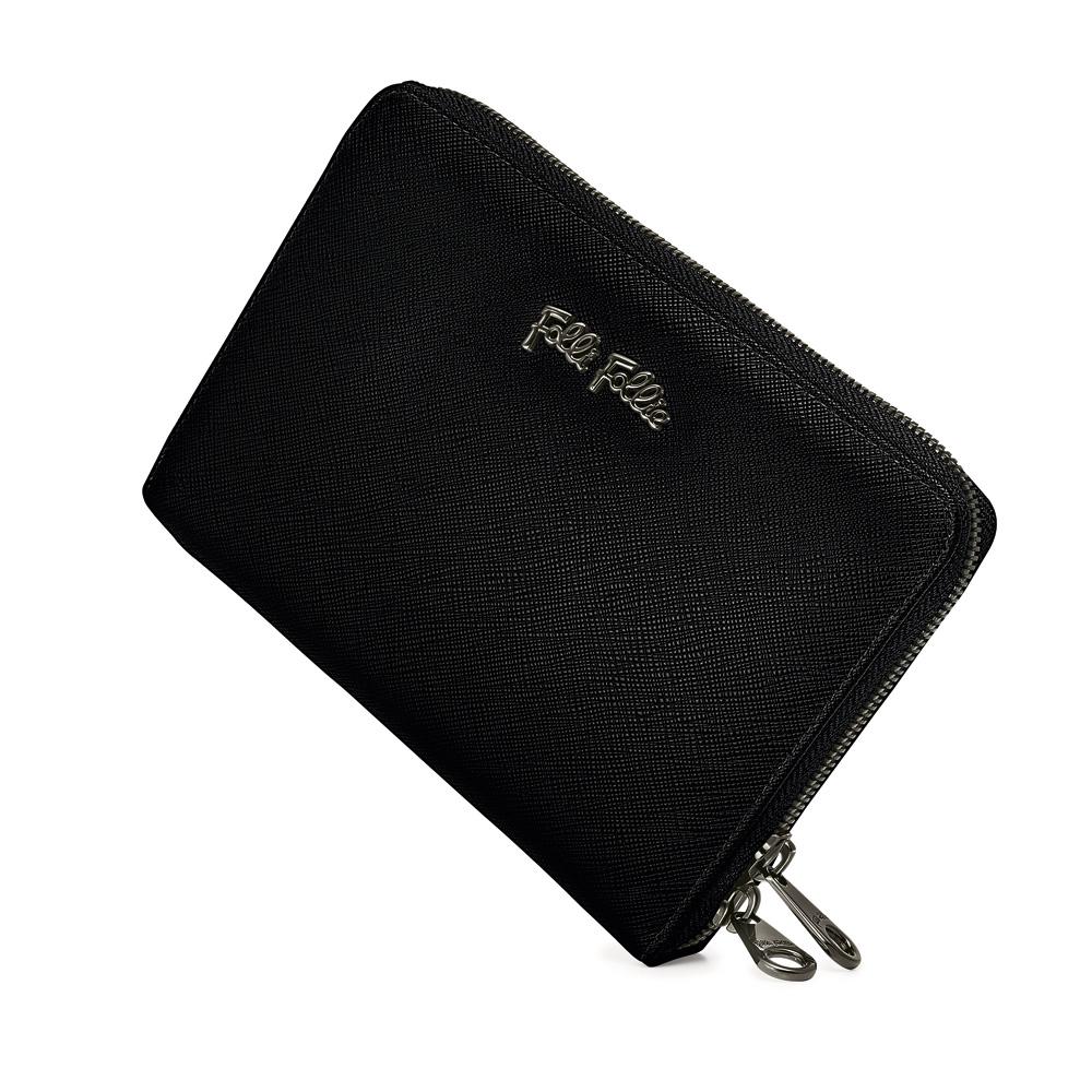 fb3943727c FOLLI FOLLIE - Γυναικείο μεγάλο πορτοφόλι με φερμουάρ FOLLI FOLLIE μαύρο