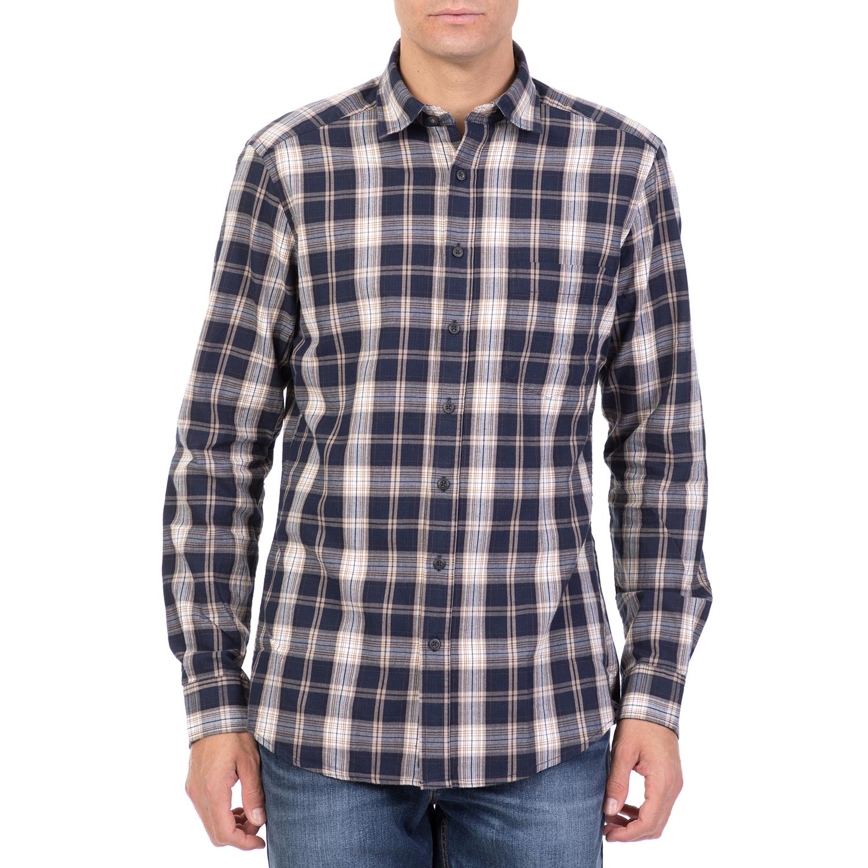 f273dc018115 HAMPTONS – Ανδρικό μακρυμάνικο καρό πουκάμισο HAMPTONS μπλε – Online ...