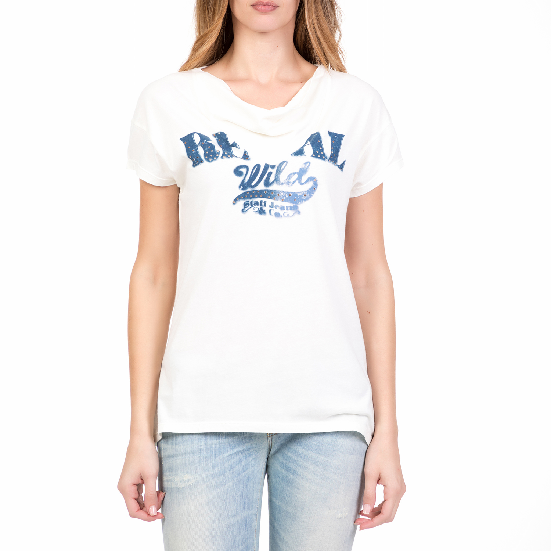 40d415793f0a STAFF - Γυναικεία κοντομάνικη μπλούζα WENDY STAFF λευκή ...