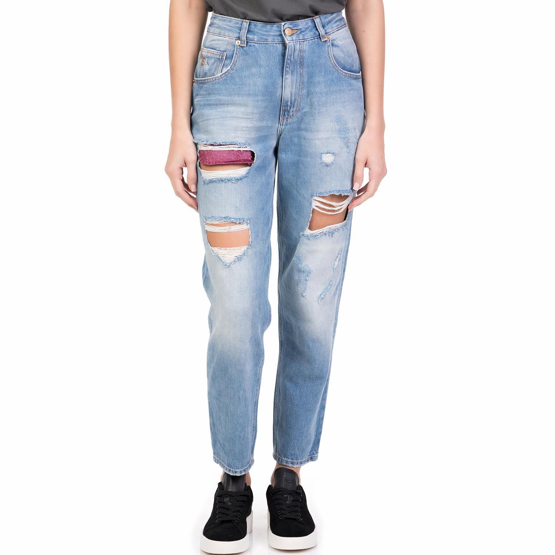 b3e21a750c65 STAFF – Γυναικείο ψηλόμεσο τζιν παντελόνι MARYLIN STAFF με σκισίματα μπλε