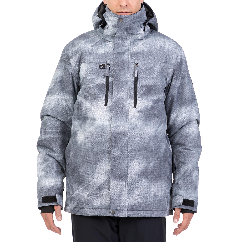e9d1770f26d GrabitApp; QUIKSILVER - Ανδρικό μπουφάν με κουκούλα MISSION PRINTED JK SNOW  γκρι-λευκό