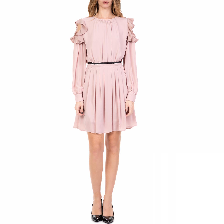SILVIAN HEACH - Γυναικείο μίνι φόρεμα με βολάν MUSWELBRO SILVIAN HEACH ροζ γυναικεία ρούχα φορέματα μίνι
