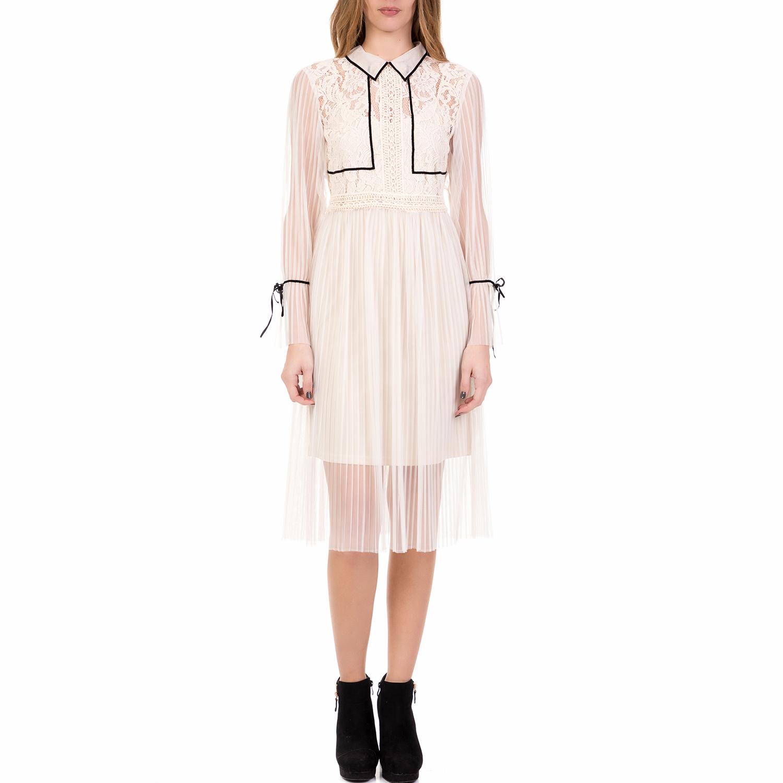 SILVIAN HEACH - Γυναικείο midi φόρεμα MONCLOVA SILVIAN HEACH λευκό γυναικεία ρούχα φορέματα μέχρι το γόνατο