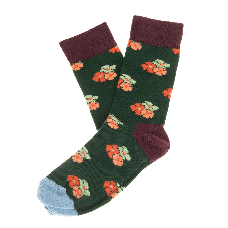 HAPPY SOCKS - Unisex κάλτσες HAPPY SOCKS πράσινες με φλοράλ γυναικεία αξεσουάρ κάλτσες
