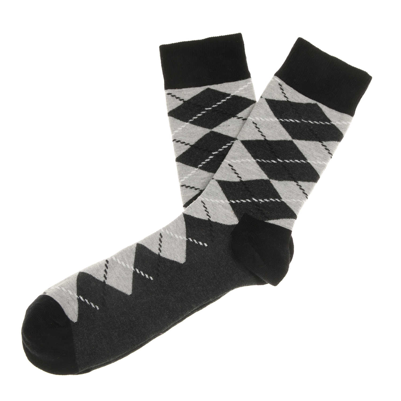 HAPPY SOCKS - Unisex κάλτσες με ρόμβους HAPPY SOCKS μαύρες-γκρι γυναικεία αξεσουάρ κάλτσες
