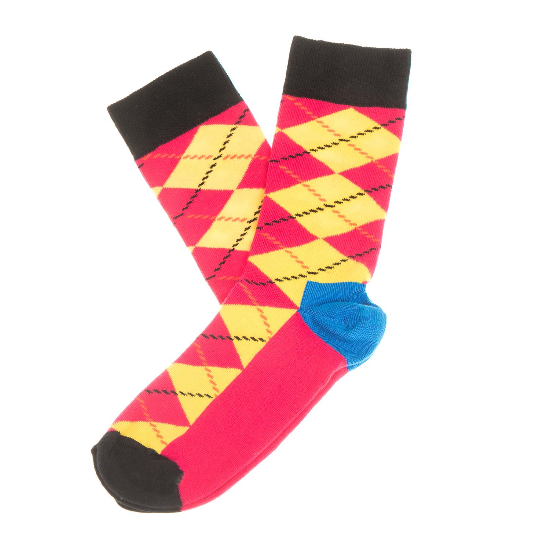 HAPPY SOCKS - Unisex κάλτσες με ρόμβους HAPPY SOCKS κίτρινες-ροζ γυναικεία αξεσουάρ κάλτσες