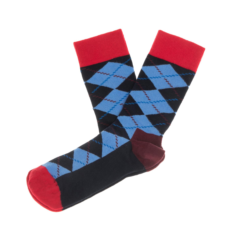 HAPPY SOCKS - Unisex κάλτσες με ρόμβους HAPPY SOCKS μαύρες-μπλε-κόκκινες γυναικεία αξεσουάρ κάλτσες