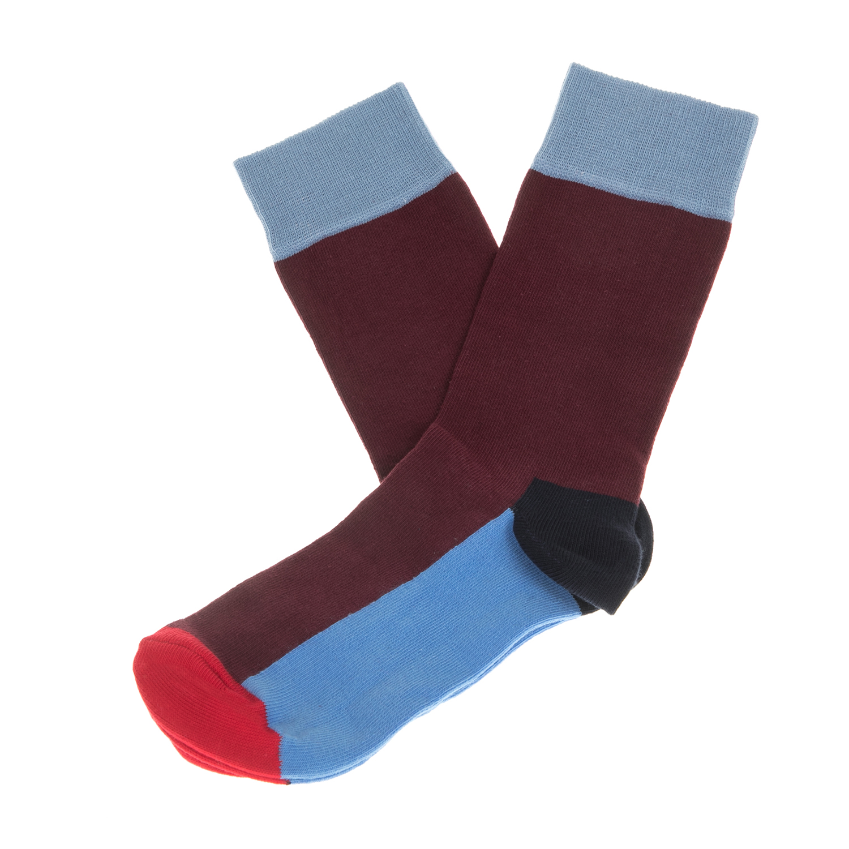 HAPPY SOCKS - Unisex κάλτσες HAPPY SOCKS μπορντό-γαλάζιες γυναικεία αξεσουάρ κάλτσες