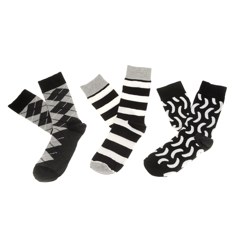 HAPPY SOCKS - Σετ unisex κάλτσες HAPPY SOCKS ασπρόμαυρες γυναικεία αξεσουάρ κάλτσες