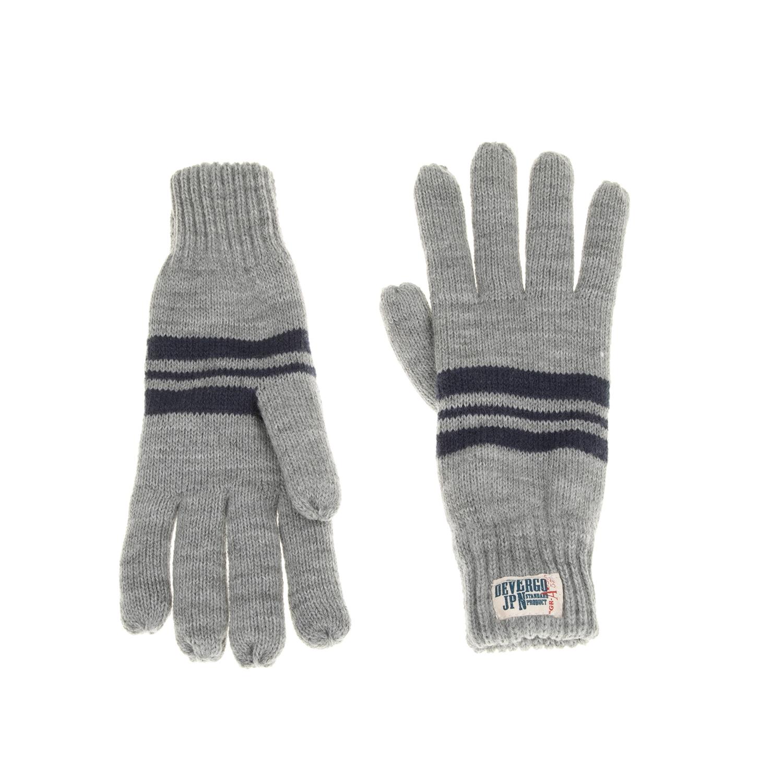 DEVERGO JEANS - Ανδρικά πλεκτά γάντια DEVERGO γκρι ανδρικά αξεσουάρ φουλάρια κασκόλ γάντια