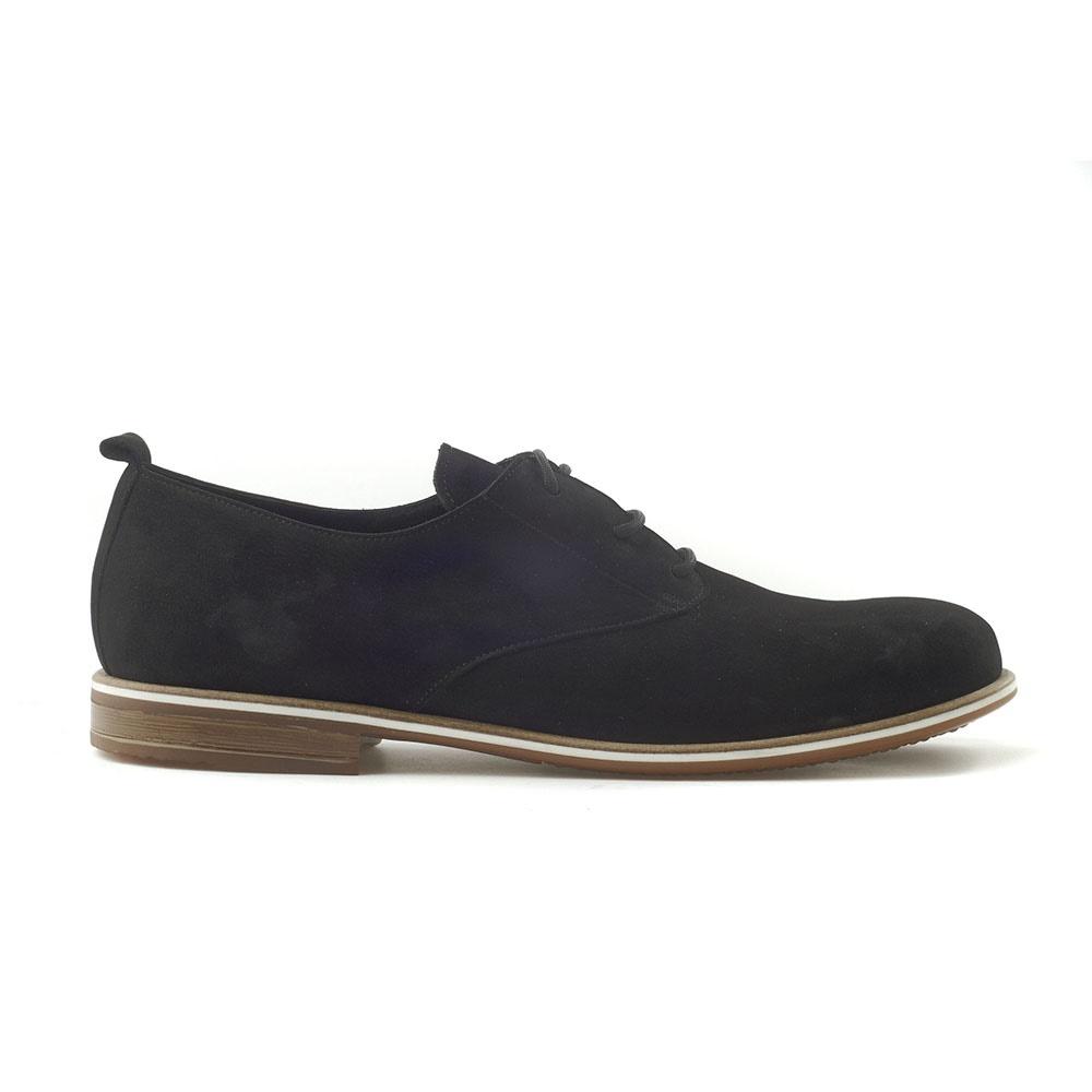 CHANIOTAKIS - Ανδρικά δετά παπούτσια CHANIOTAKIS NUBUK μαύρα ανδρικά παπούτσια δετά casual