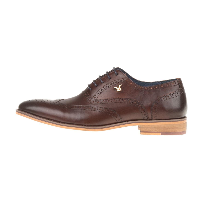 19V69 VERSACE 19.69 - Ανδρικά δετά παπούτσια WAXED 19V69 VERSACE 19.69 καφέ ανδρικά παπούτσια δετά επίσημα