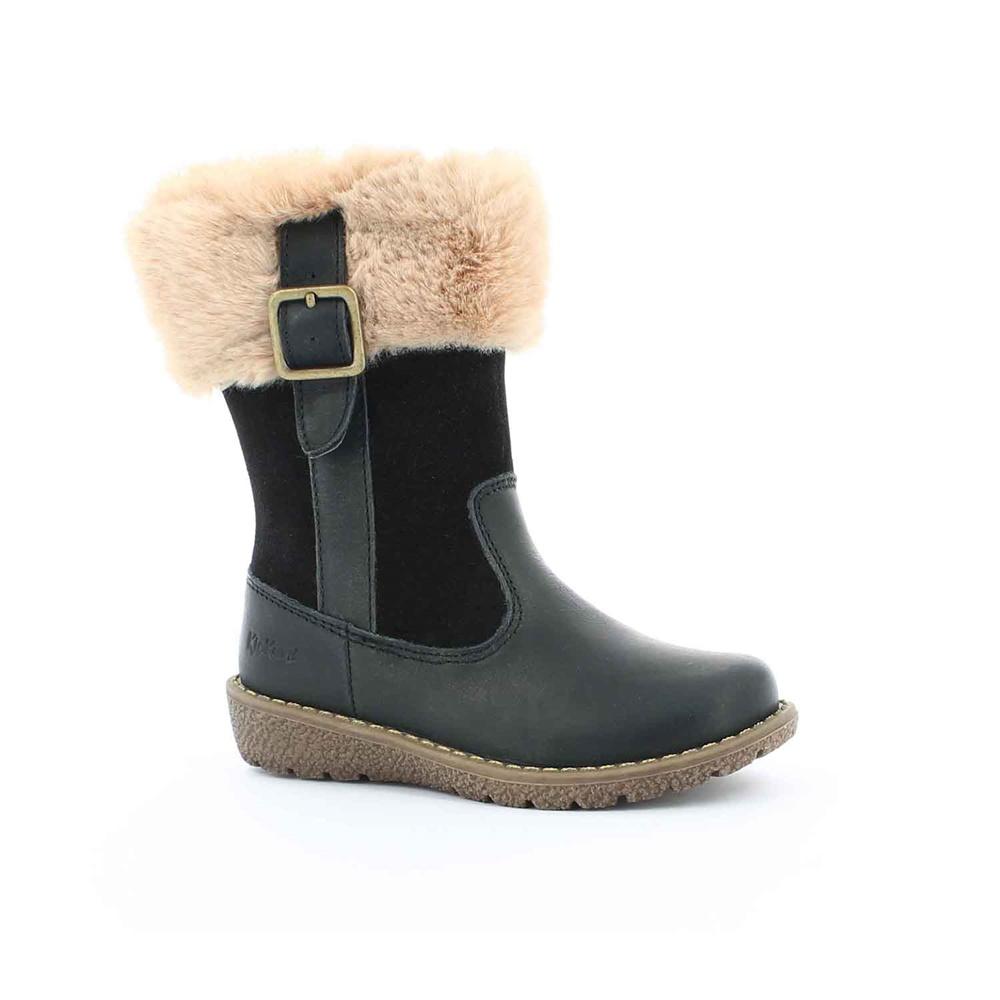 KICKERS – Κοριτσίστικες μπότες με γουνάκι UXANA KICKERS μαύρες