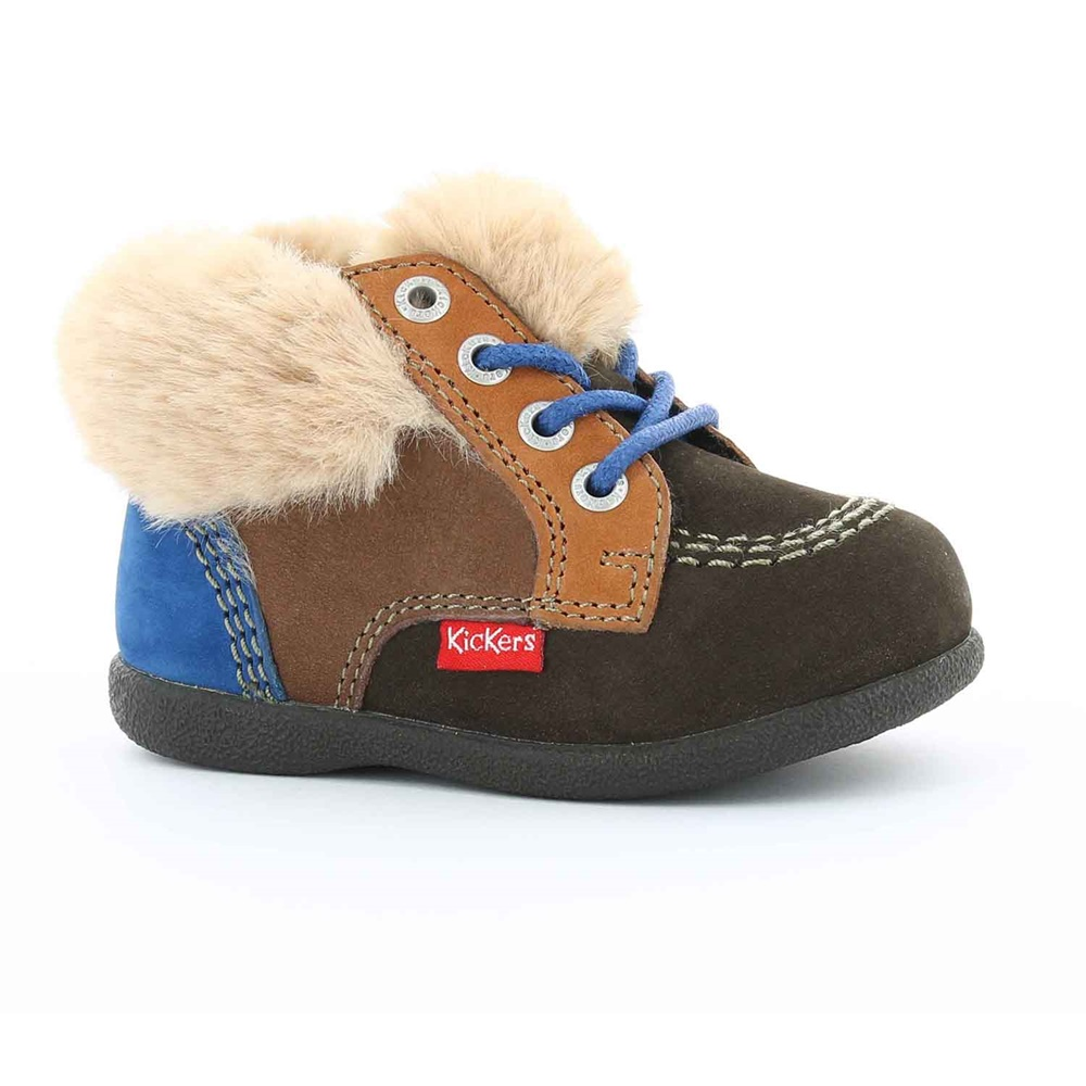 KICKERS - Βρεφικά παπούτσια BABYFROST KICKERS καφέ παιδικά baby παπούτσια μπότες μποτάκια