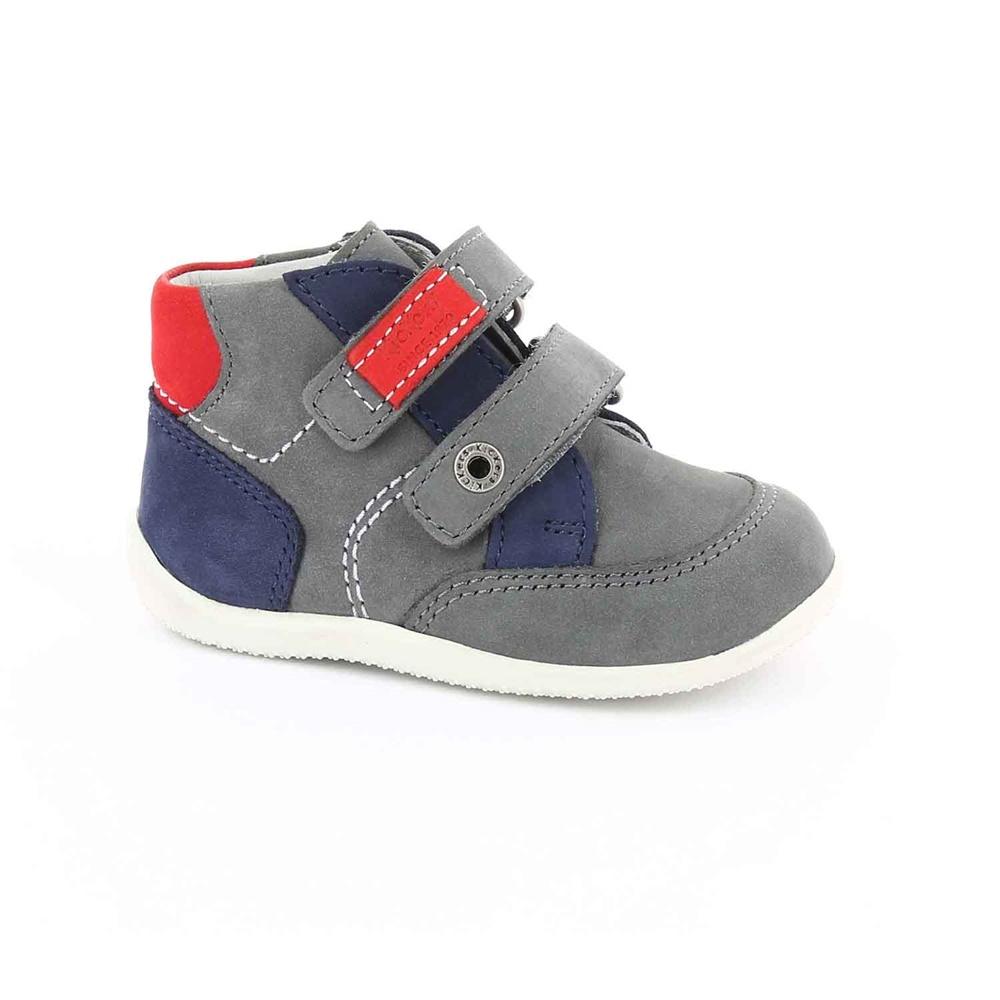 KICKERS - Βρεφικά δερμάτινα μποτάκια BARTINO KICKERS γκρι παιδικά baby παπούτσια μπότες μποτάκια