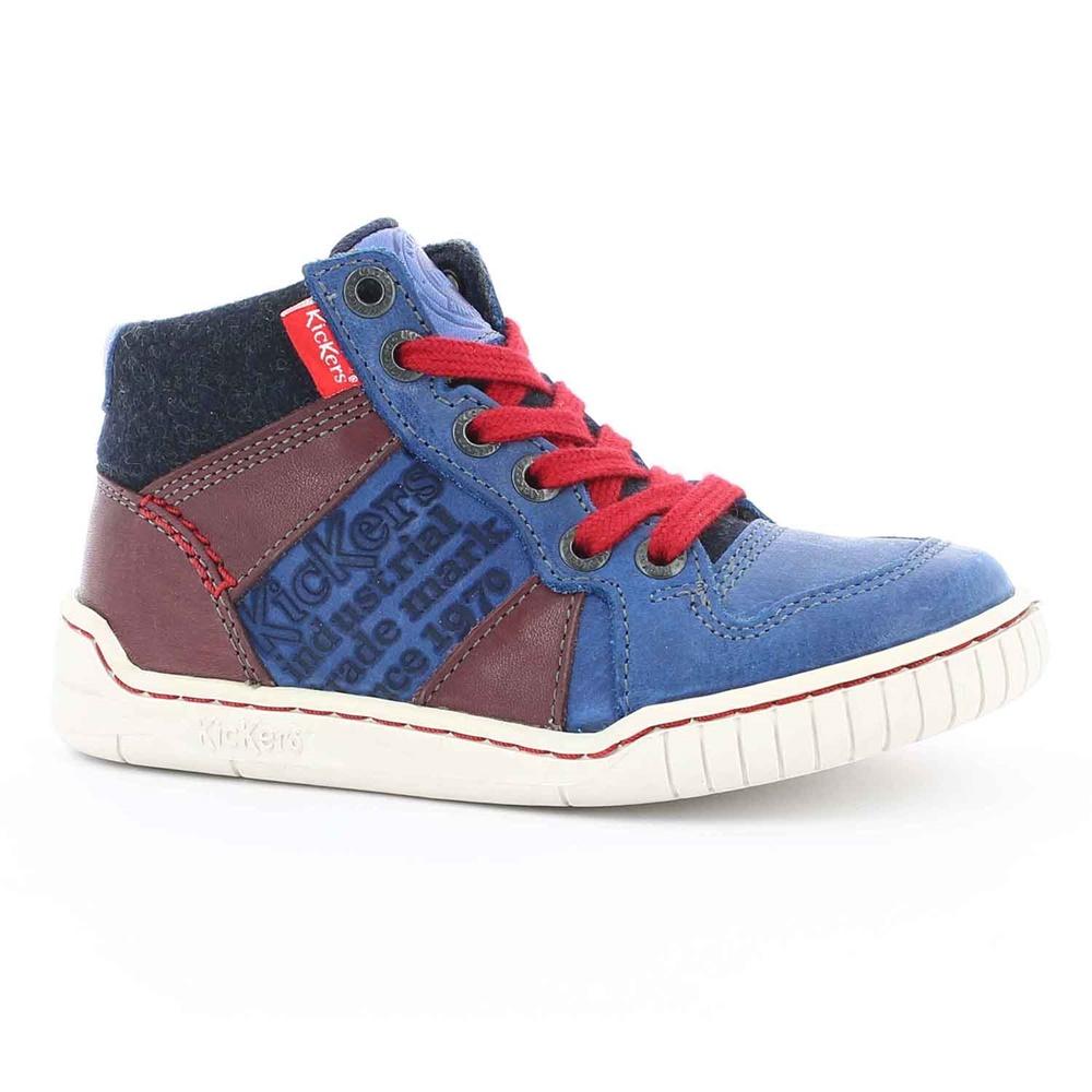 KICKERS - Παιδικά δερμάτινα μποτάκια WAZABY KICKERS μπλε παιδικά boys παπούτσια μπότες μποτάκια