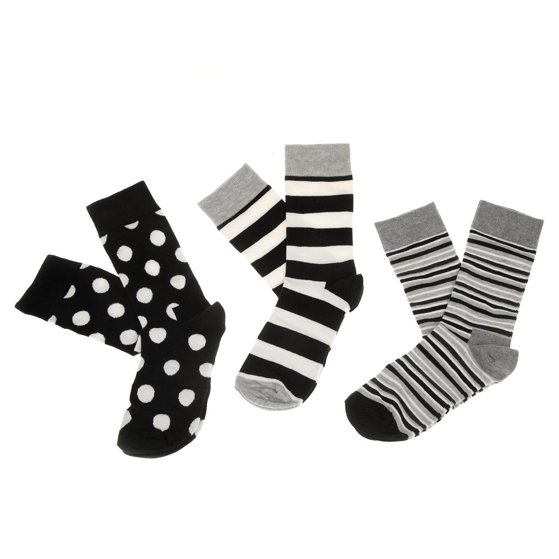 HAPPY SOCKS - Σετ unisex κάλτσες HAPPY SOCKS γκρι-μαύρες γυναικεία αξεσουάρ κάλτσες