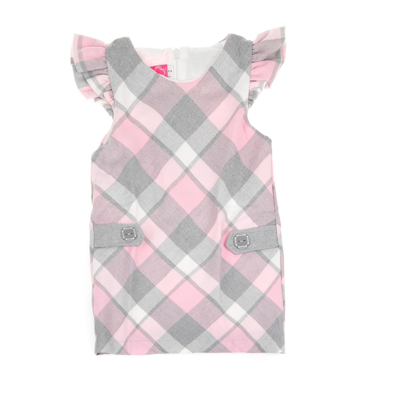 294facb379a SAM 0-13 - Παιδικό αμάνικο καρό φόρεμα με βολάν SAM 0-13 γκρι