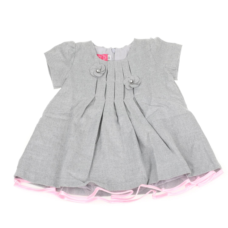 SAM 0-13 - Βρεφικό κοντομάνικο φόρεμα με πιέτες SAM 0-13 γκρι 2afcdb3b8ec