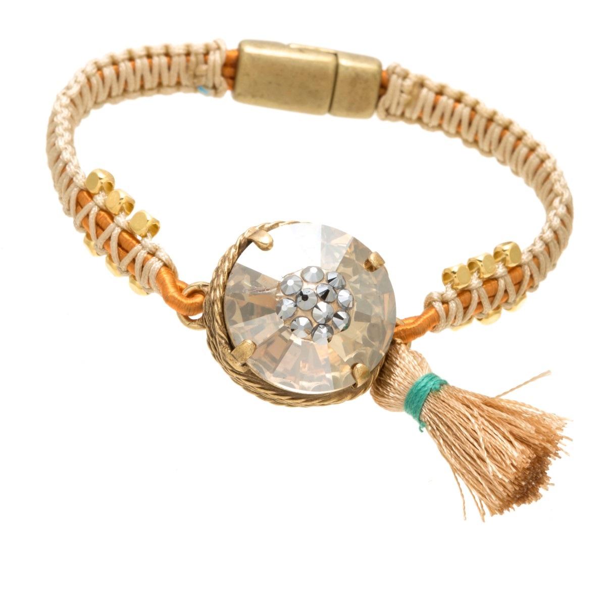 ARTWEAR DIMITRIADIS - Γυναικείο βραχιόλι ARTWEAR DIMITRIADIS με κορδόνι και στρα γυναικεία αξεσουάρ κοσμήματα βραχιόλια