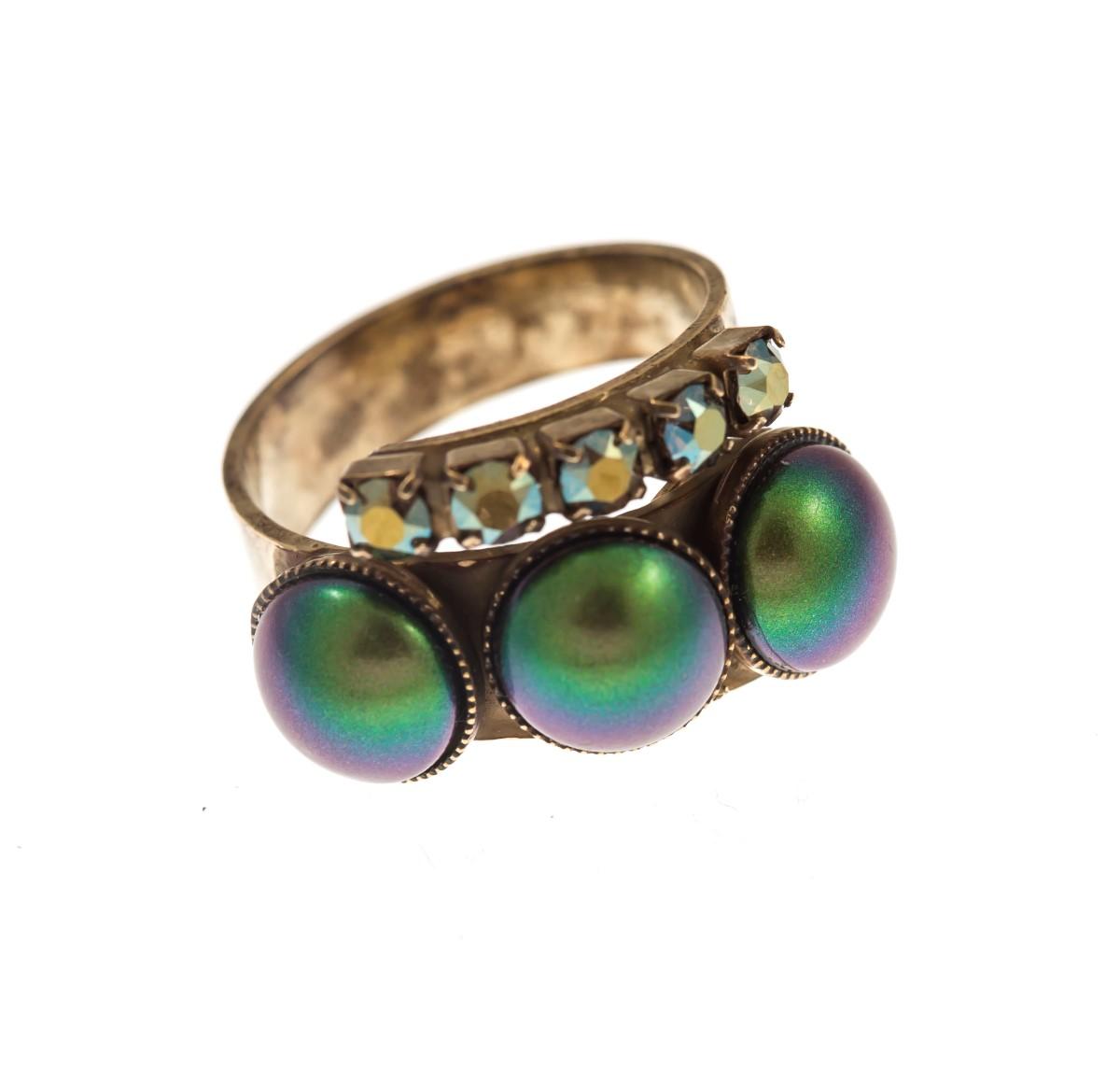 ARTWEAR DIMITRIADIS - Γυναικείο δαχτυλίδι ARTWEAR DIMITRIADIS με στρας και πέρλε γυναικεία αξεσουάρ κοσμήματα δαχτυλίδια