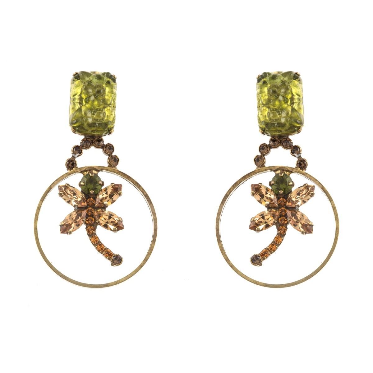 ARTWEAR DIMITRIADIS - Γυναικεία κρεμαστά σκουλαρίκια με κρίκο και στρας γυναικεία αξεσουάρ κοσμήματα σκουλαρίκια
