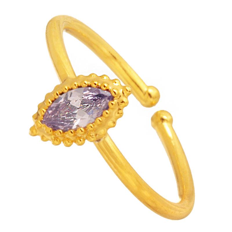 JEWELTUDE - Γυναικείο επίχρυσο δαχτυλίδι Μονόπετρο γυναικεία αξεσουάρ κοσμήματα δαχτυλίδια
