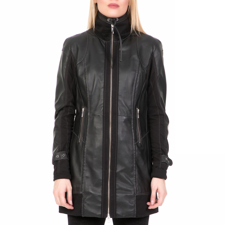 ARMA MAYS & ROSE - Γυναικείο δερμάτινο μπουφάν ARMA MAYS & ROSE Lam Caprito μαύρ γυναικεία ρούχα πανωφόρια δερμάτινα τζάκετς