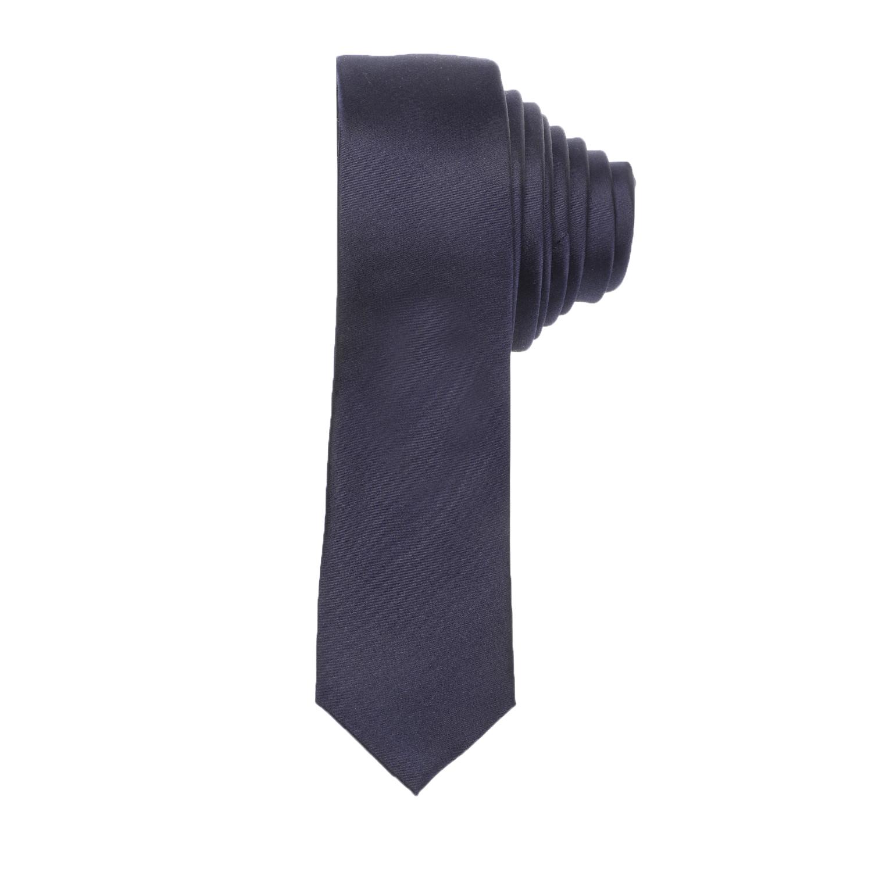 CK - Ανδρική γραβάτα CK SATIN SOLID SLIM μπλε