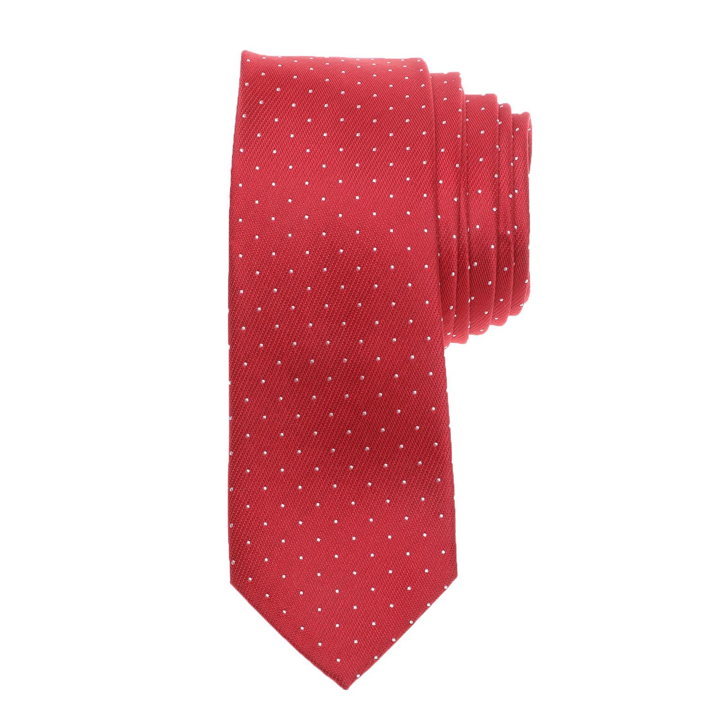 CK - Ανδρική γραβάτα CK CLASSIC DOT κόκκινη λευκή