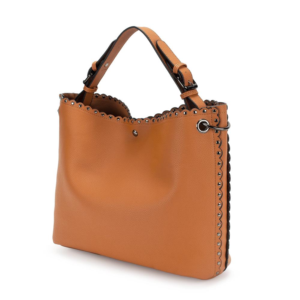 FOLLI FOLLIE - Γυναικεία τσάντα hobo FOLLI FOLLIE καφέ γυναικεία αξεσουάρ τσάντες σακίδια ωμου