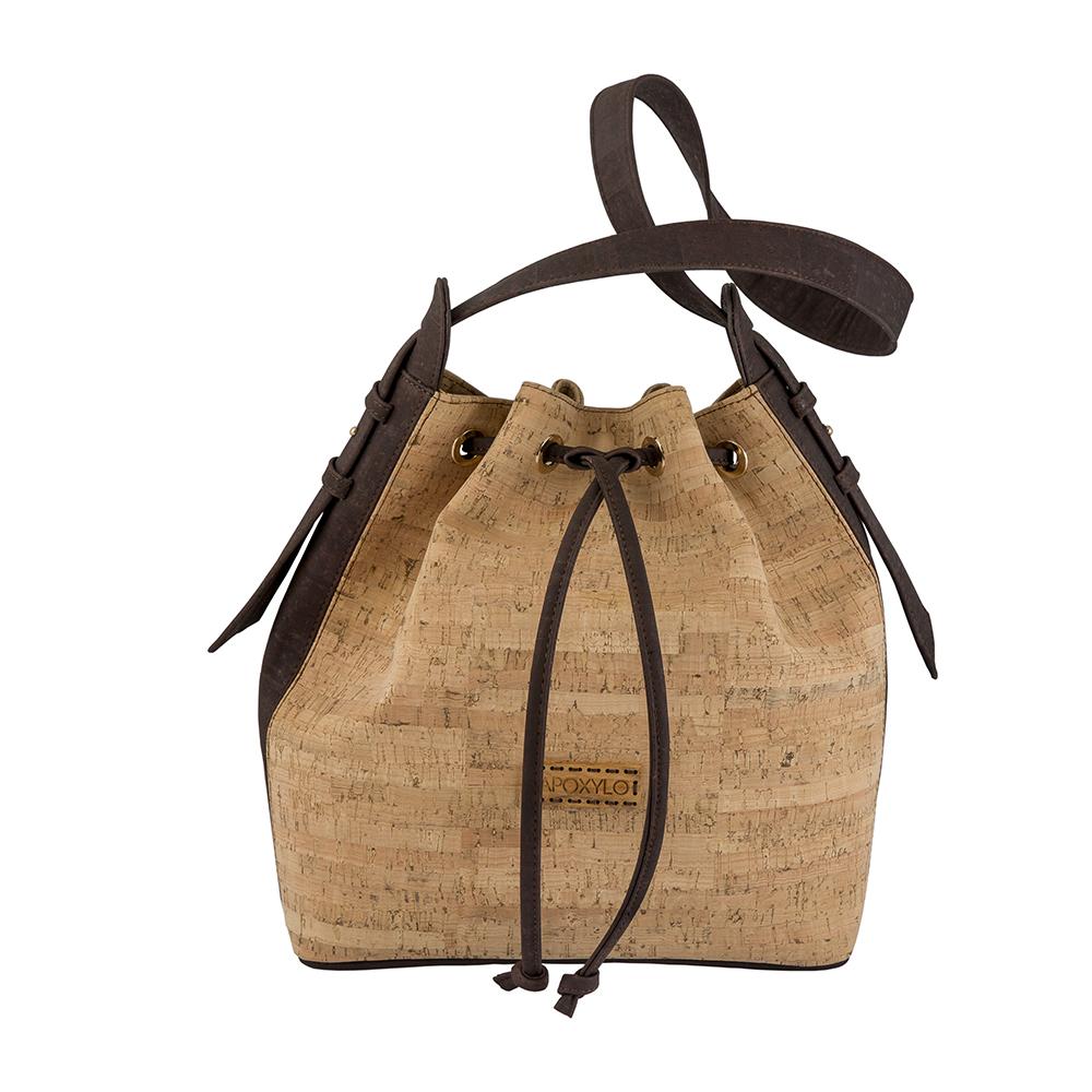 APOXYLO - Γυναικεία τσάντα πουγκί alpha bucket APOXYLO καφέ γυναικεία αξεσουάρ τσάντες σακίδια ωμου