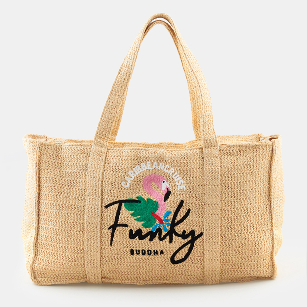 FUNKY BUDDHA - Γυναικεία ψάθινη τσάντα FUNKY BUDDHA μπεζ γυναικεία αξεσουάρ εξοπλισμός παραλίας τσάντες   εργαλεία μεταφοράς