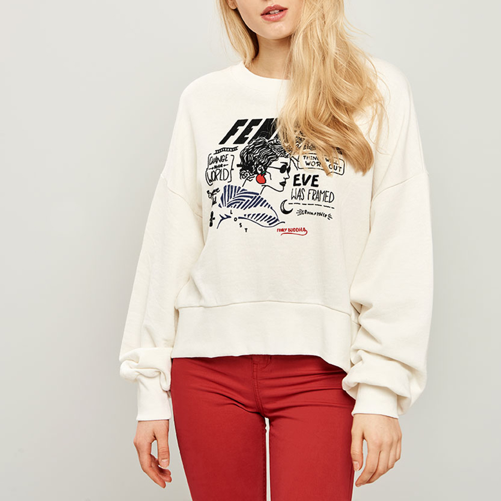 447492bfc501 FUNKY BUDDHA - Γυναικεία φούτερ μπλούζα με ανοιχτή πλάτη FUNKY BUDDHA λευκή