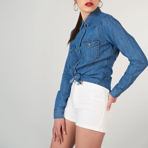 52b81aa66b64 Γυναικείο τζιν πουκάμισο FUNKY BUDDHA μπλε σκούρο (1742890.0-1711 ...