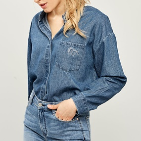 FUNKY BUDDHA. Γυναικείο τζιν πουκάμισο FUNKY BUDDHA μπλε 7bf3e19ab97