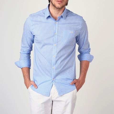 c8c8915e0bdf Ανδρικό μακρυμάνικο καρό πουκάμισο FUNKY BUDDHA γαλάζιο (1742919.0-3c00)